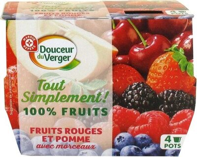 Spécialité de fruits avec morceaux fruits rouges et pomme - Produit - fr