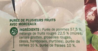 Spécialité de fruits avec morceaux fruits rouges et pomme - Ingrédients - fr
