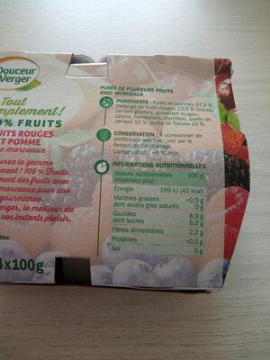 Spécialité de fruits avec morceaux fruits rouges et pomme - Informations nutritionnelles - fr