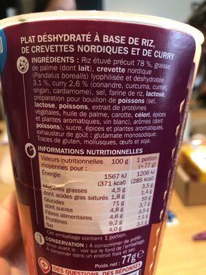 Riz curry et crevettes - cup - Ingrediënten - fr