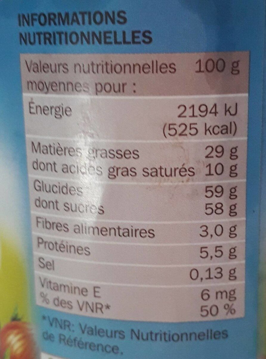 Pâte à tartiner - Informations nutritionnelles - fr