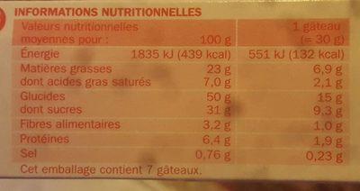 Gâteaux tout chocolat x 7 - Nutrition facts - fr