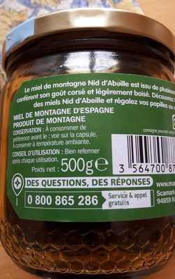 Miel de montagne - Nutrition facts - fr