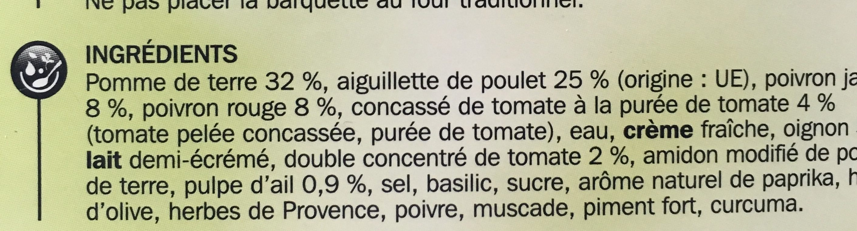 Poulet basquaise + pommes de terre - Ingredients