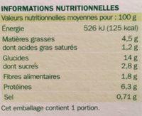 Lasagnes Végétariennes - Nutrition facts