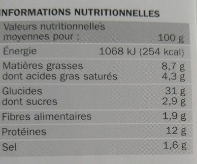 Pizza méga cheese jambon fromage - Nutrition facts