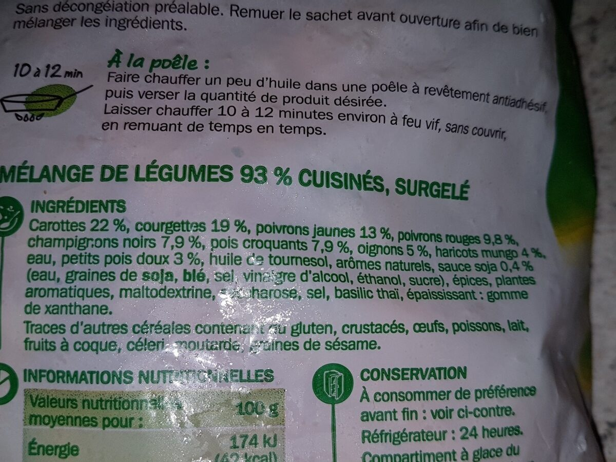 Poêlée asiatique de légumes - Ingredients