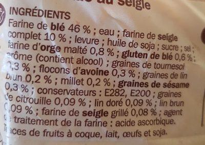 Pain de mie seigle et céréales - Ingrediënten - fr