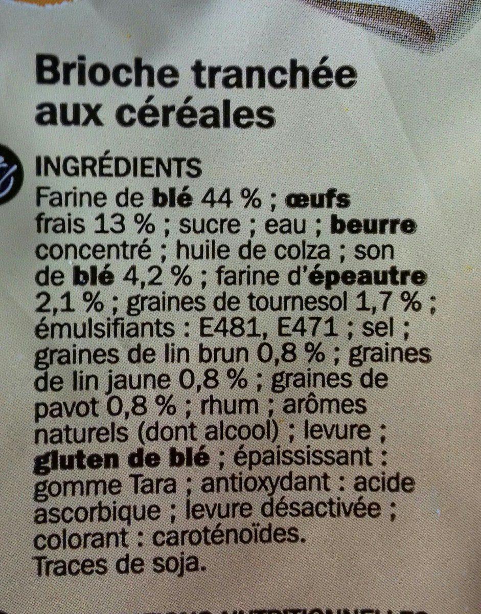 Brioche tranchée aux céréales - Ingrédients