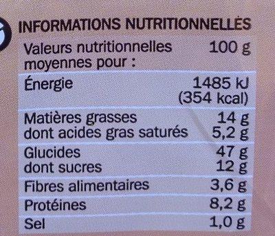 Brioche tranchée aux céréales - Informations nutritionnelles