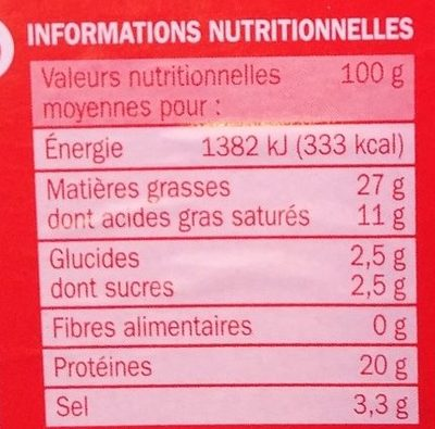 Chorizo espagnol fort 30 tranches - Voedingswaarden