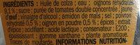 Sauce algérienne - flacon - Ingrédients