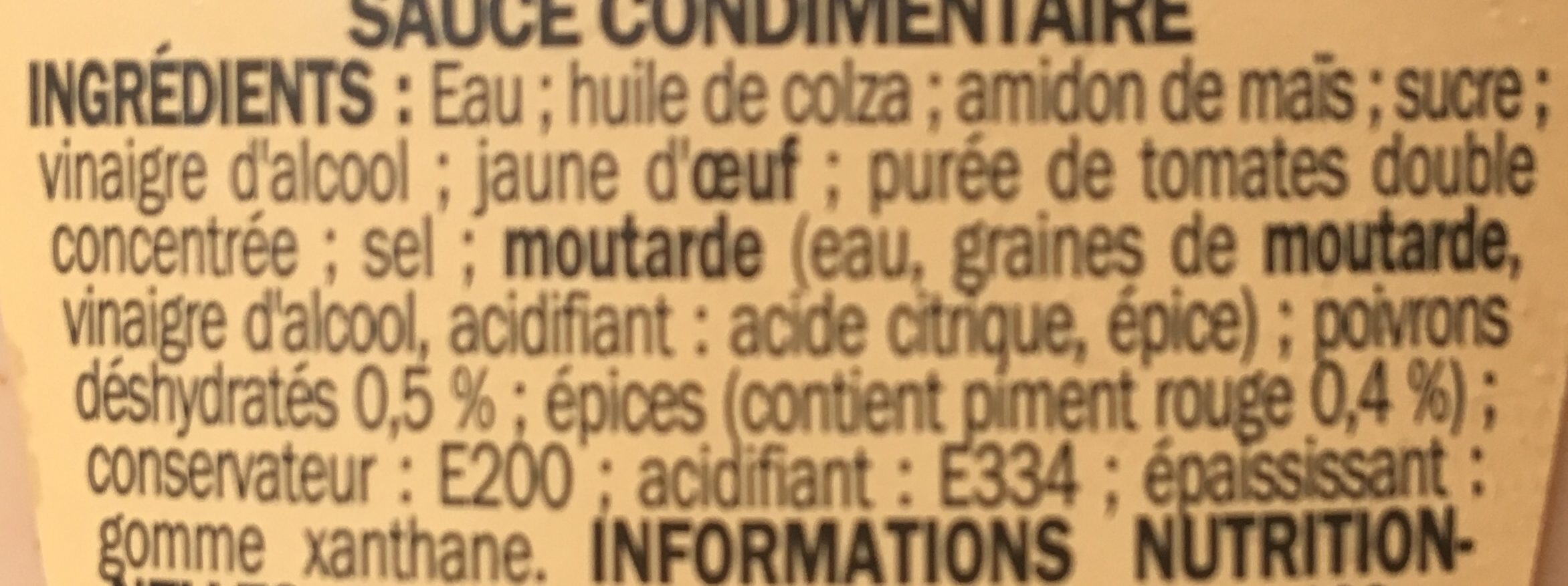 Sauce samouraï - flacon - Ingredients - fr