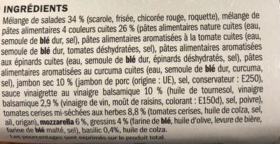 Salade de jambon sec, conchiglie et mozzarella - Ingrédients