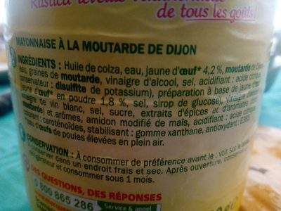 Mayonnaise à la moutarde de Dijon - bocal - Ingrédients