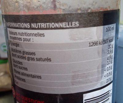 Vinaigrette biphasée huile d'olive tomates séchées et vinaigre balsamique - Nutrition facts