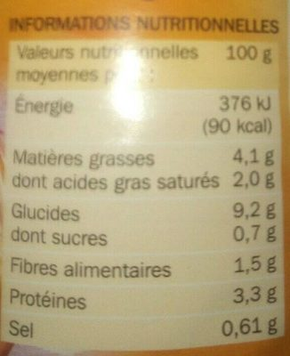 Tartiflette Marque Repere - Nutrition facts