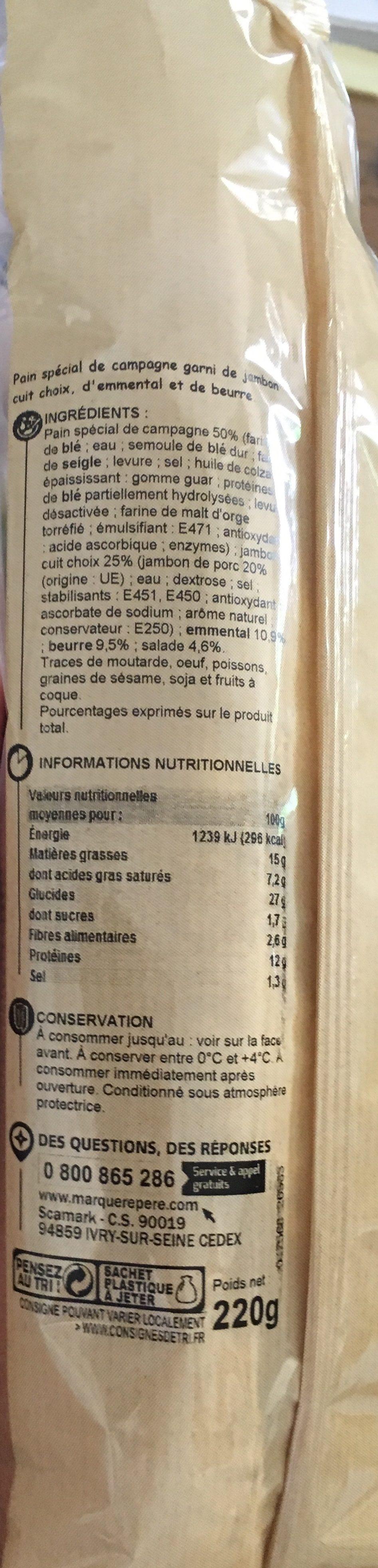 Sandwich baguette de campagne jambon emmental salade - Ingrédients - fr
