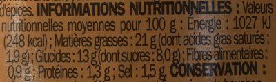 Sauce burger - flacon - Informations nutritionnelles