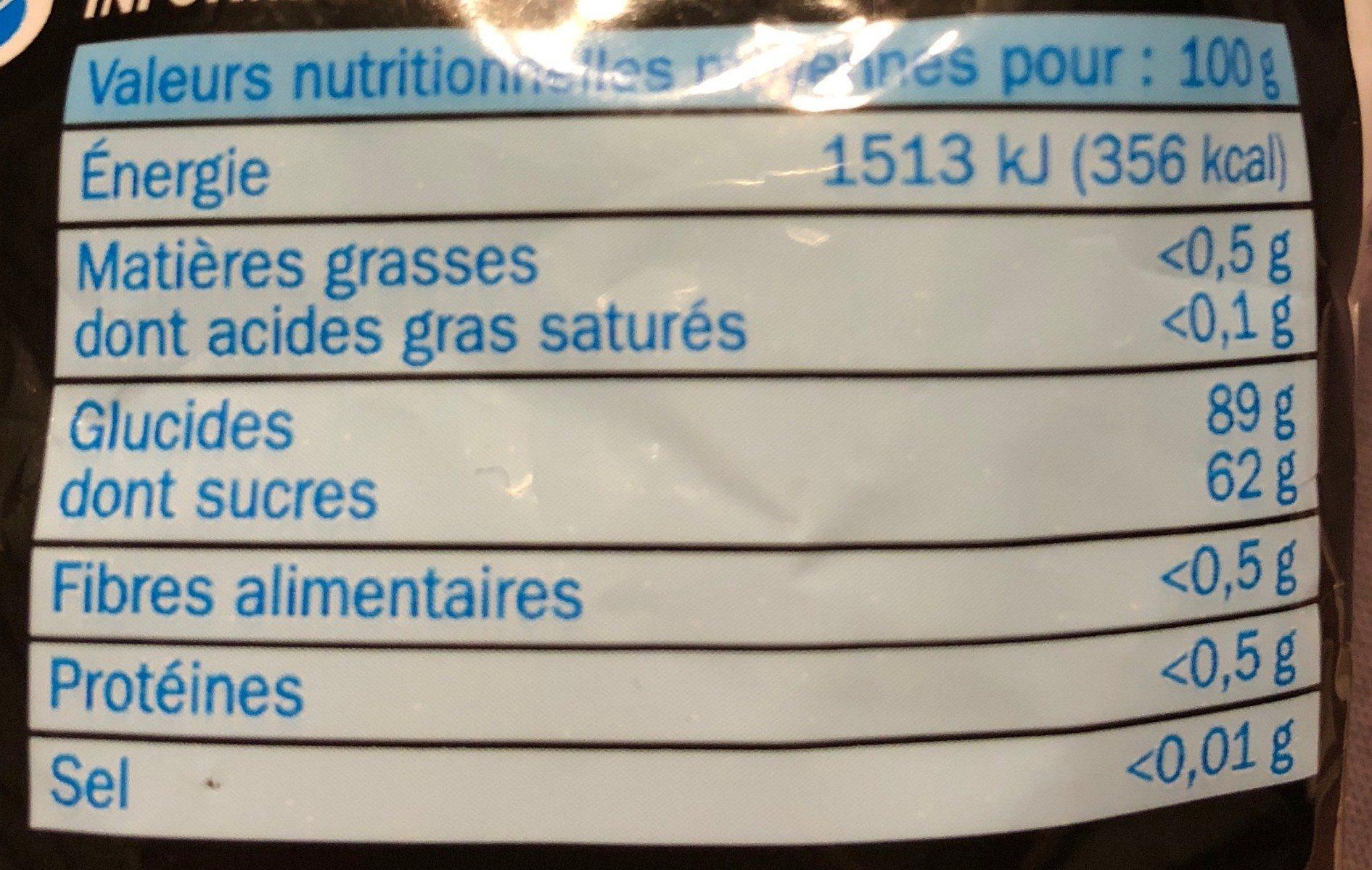 Météorites bombfizz - Informations nutritionnelles