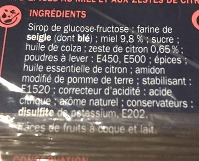 Pain d'épices au miel et aux zestes de citron (spécial saumon) - Ingredients