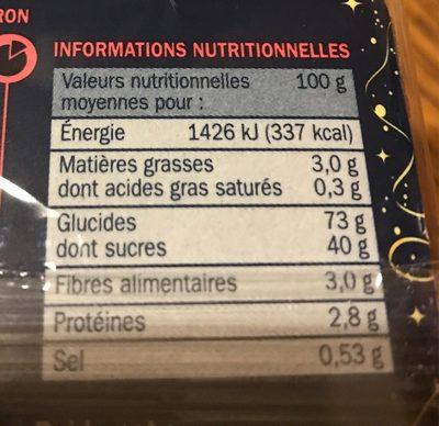 Pain d'épices au miel et aux zestes de citron (spécial saumon) - Nutrition facts