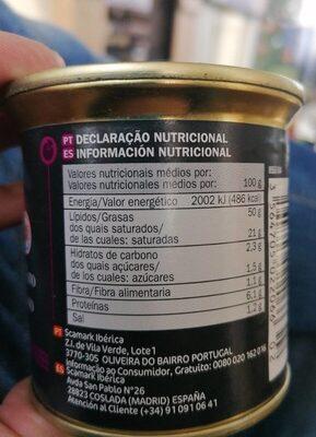 Bloc de Foie Gras de Pato - Voedingswaarden