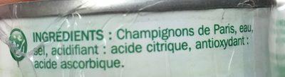 Champignons de Paris Entiers - Ingrédients