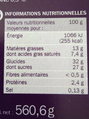 Vanille Speculoos Eskiss - Informations nutritionnelles