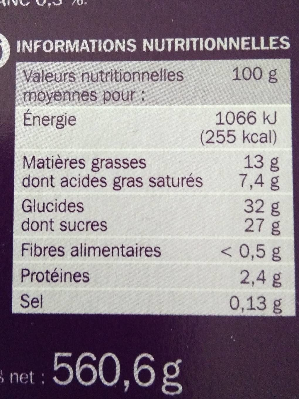 Vanille Speculoos Eskiss - Informations nutritionnelles - fr