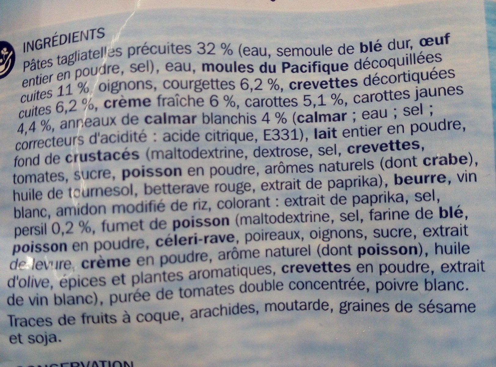 Tagliatelles aux fruits de mer - Ingredientes
