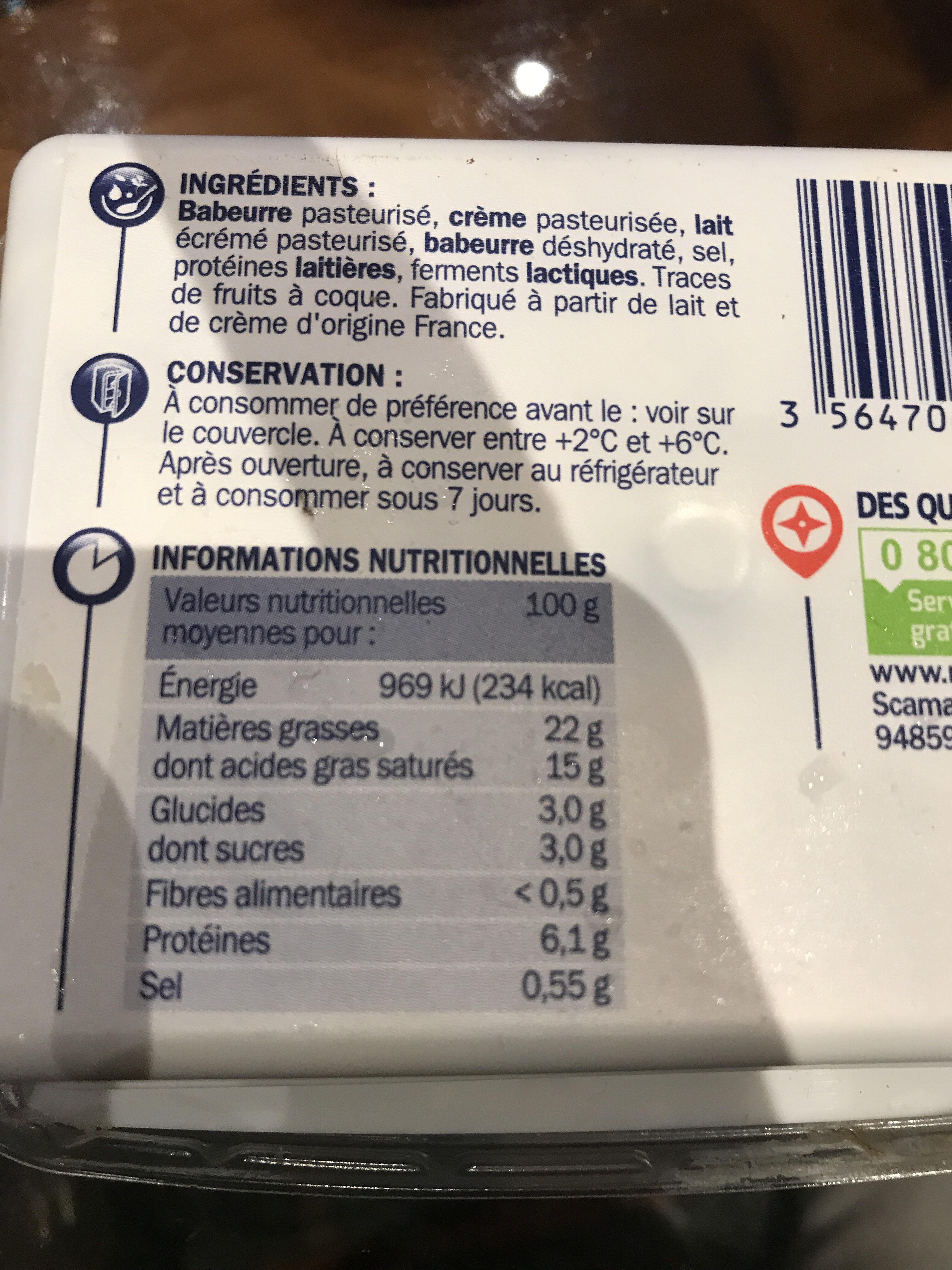 Fromage à tartiner nature -25% de sel réduit - Informations nutritionnelles - fr