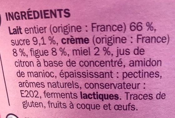 Yaourt gourmand brassé figue et miel - Ingrédients - fr