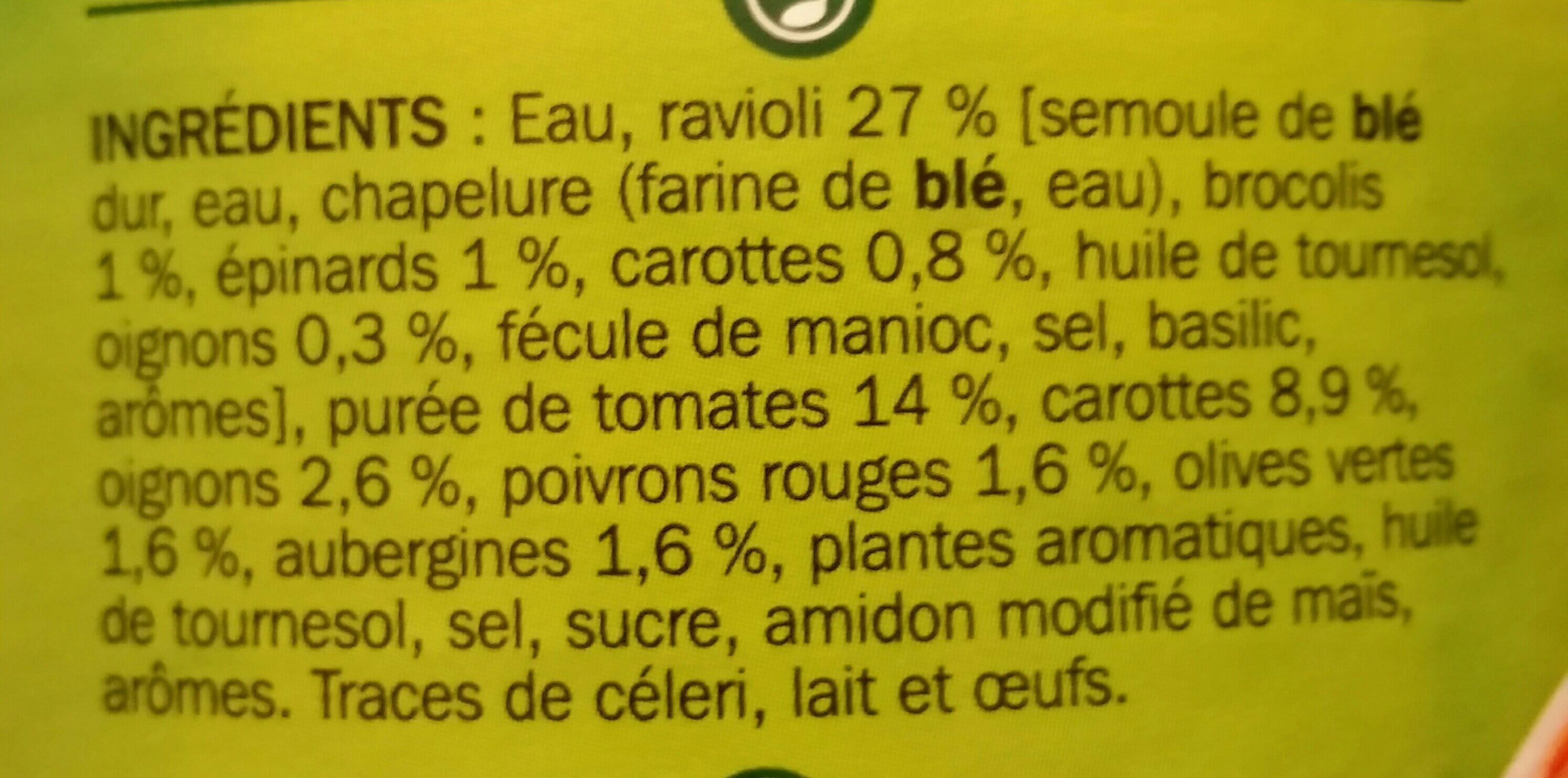 Raviolis aux 6 Légumes - Ingrédients - fr