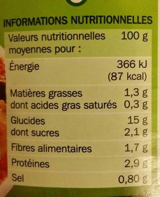 Raviolis aux 6 Légumes - Informations nutritionnelles - fr