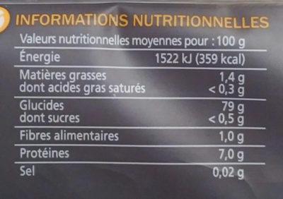Spaghetti sans gluten - Informations nutritionnelles