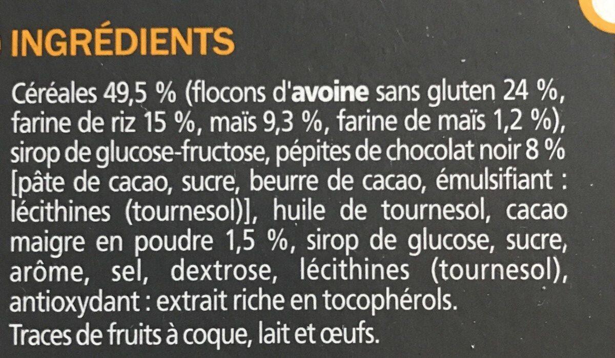 Barres céréales flocons d'avoine et chocolat sans gluten x 6 - Ingredientes - fr