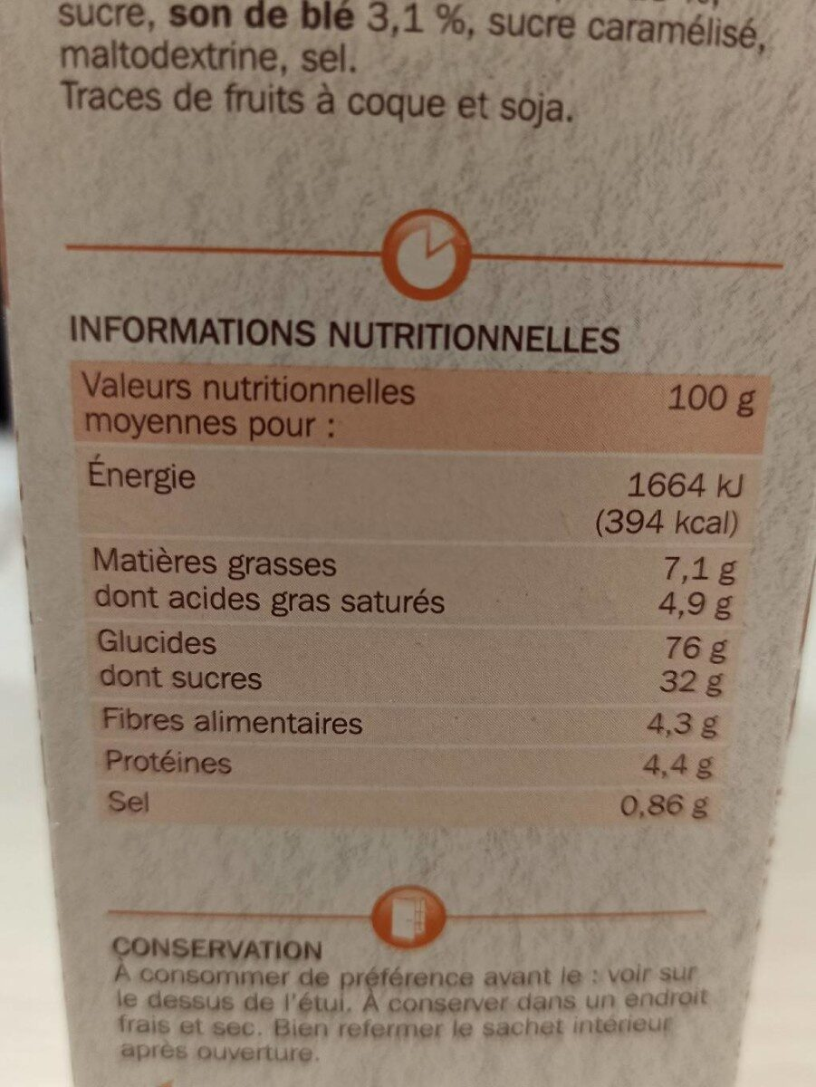 Carre craquant - Informations nutritionnelles - fr