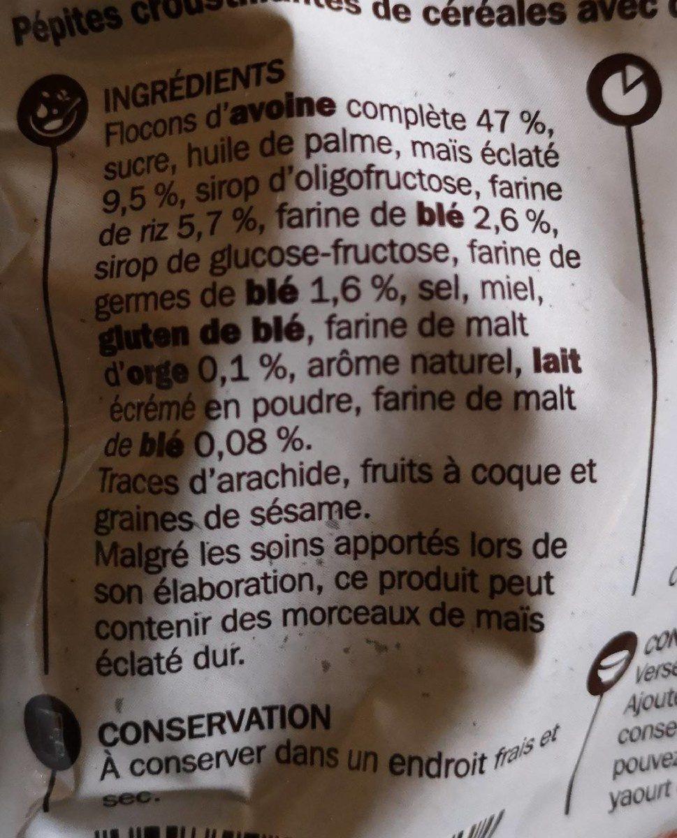 Muesli popcorn aux pépites croustillantes - Ingrédients - fr