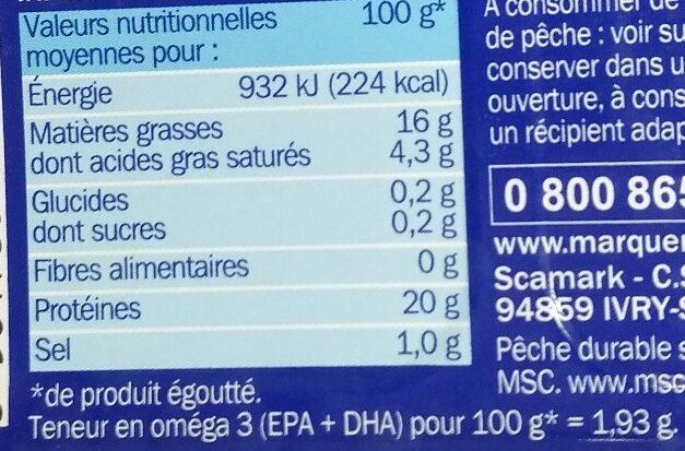 Filets de maquereaux grillés au naturel - Información nutricional - fr