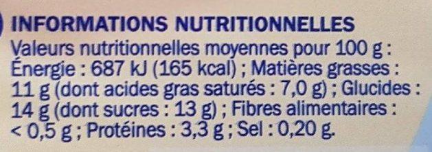Duodélisse sur lit de passion - Informations nutritionnelles - fr