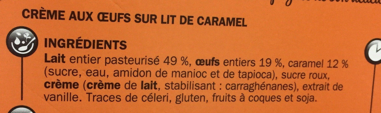 Crème aux oeufs sur lit de caramel - Ingrédients - fr