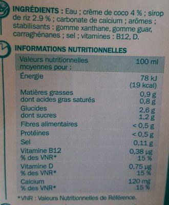 boisson coco - Nutrition facts