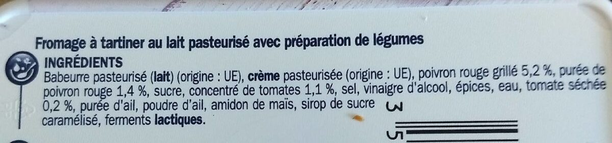 Fromage à tartiner saveur barbecue 14% Mat. Gr. - Ingrédients - fr