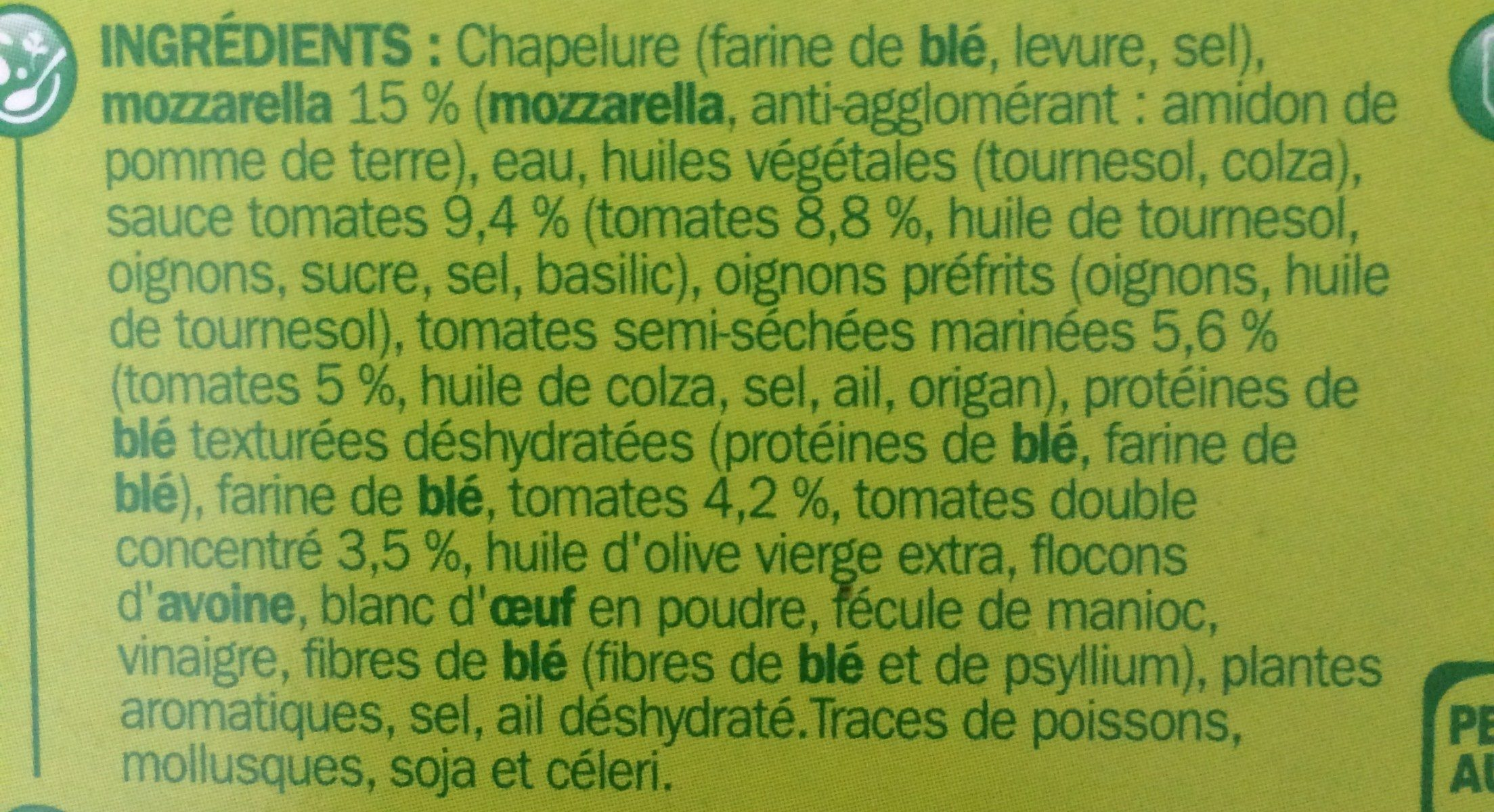 Panés gourmands tomate mozzarella - Ingrédients - fr