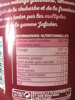 Nectar framboise rhubarbe - Informations nutritionnelles