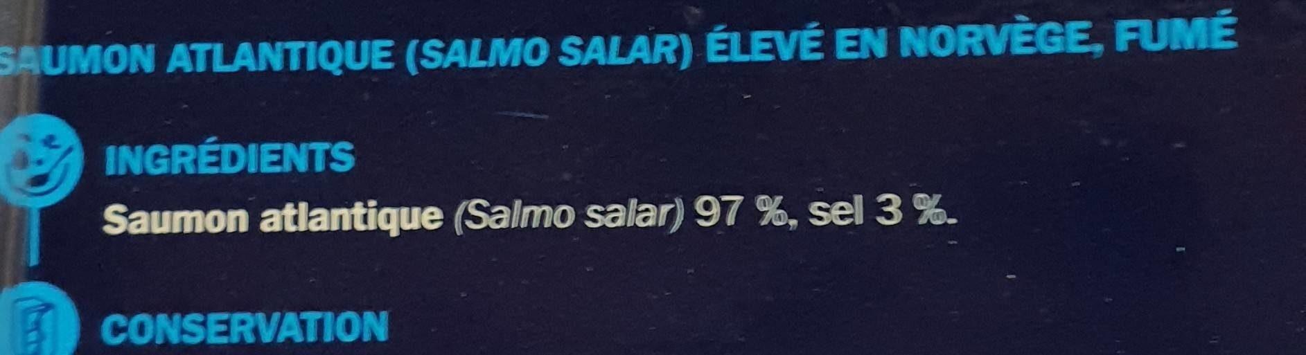 Saumon fumé de Norvège A.S.C. 2 tranches - Ingrédients - fr
