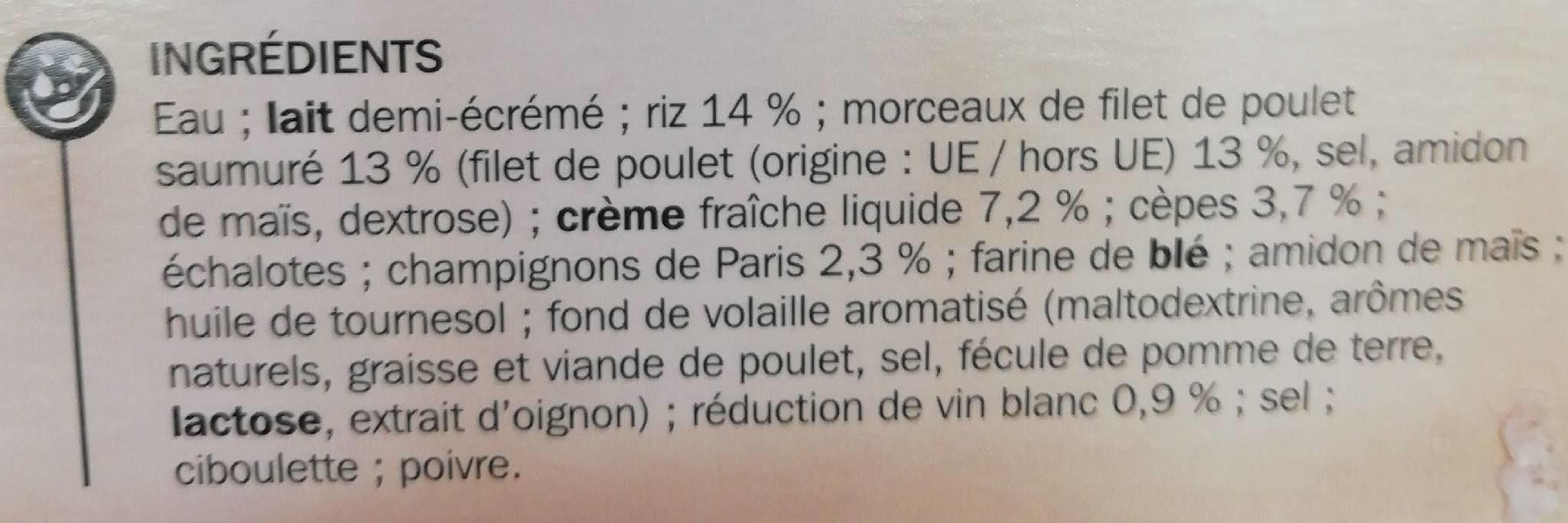 Poulet et risotto champignons - Ingrédients - fr