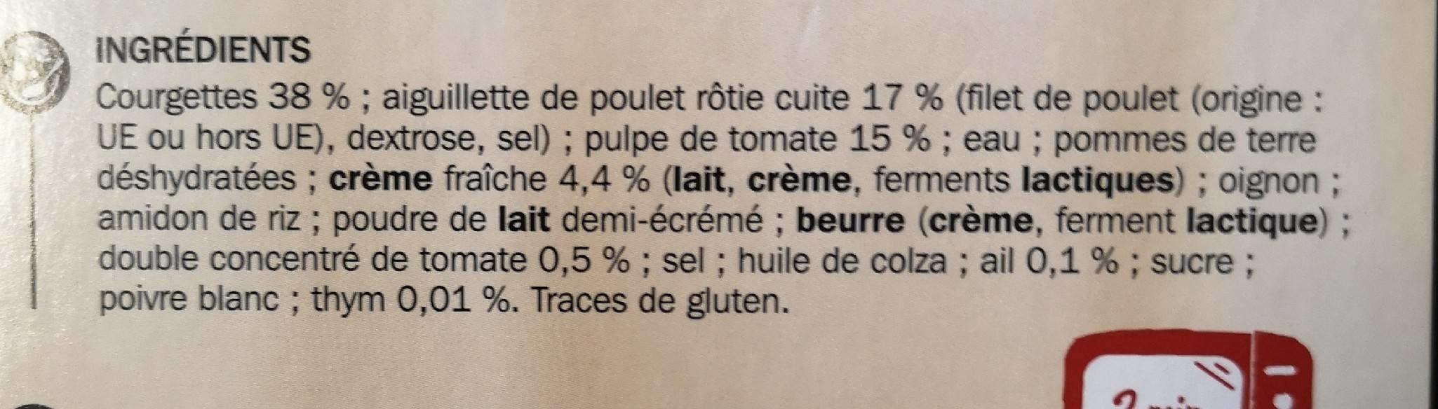 Poulet tomate puree courgette - Ingrédients