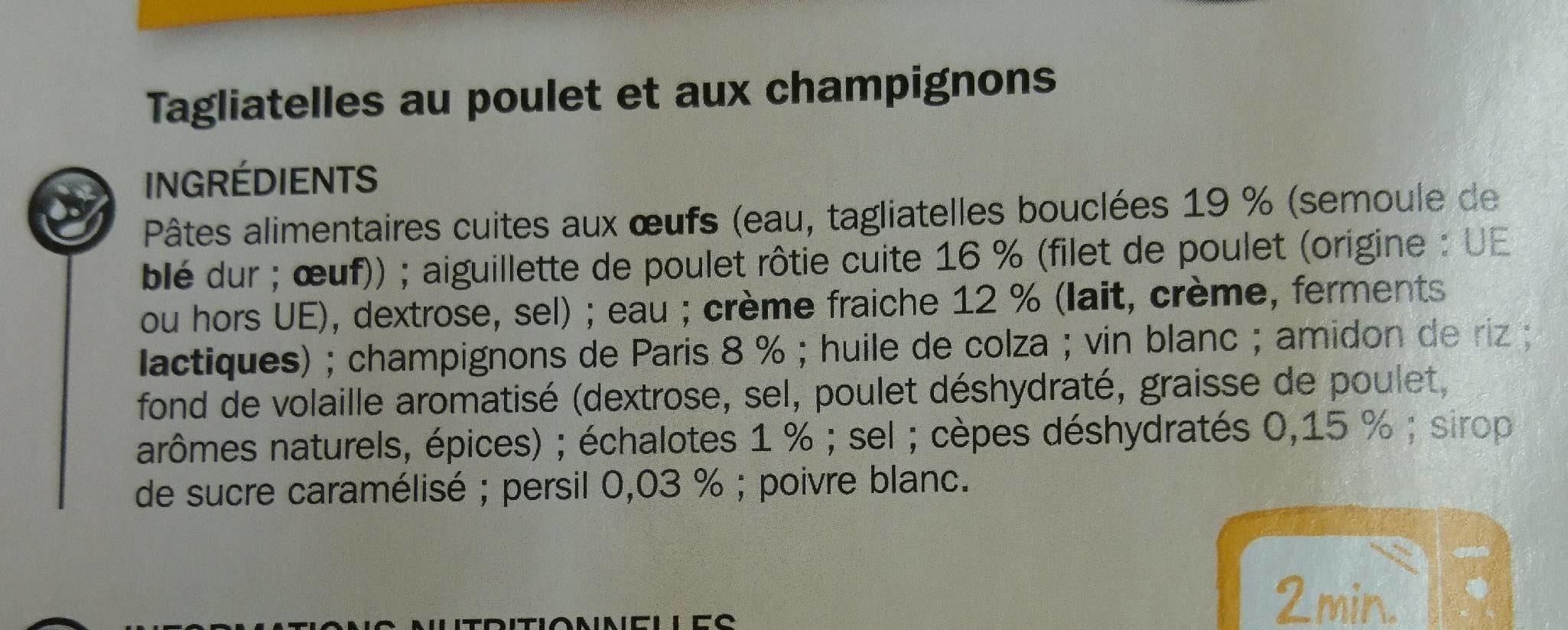 Tagliatelles poulet champignon - Ingredients - fr